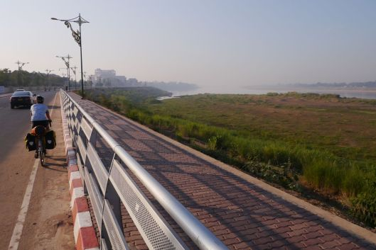 A calmer way out of Vientiane in the morning.