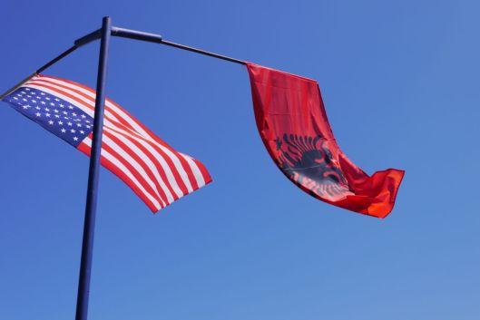 Albanian and American flag, Kosovo.